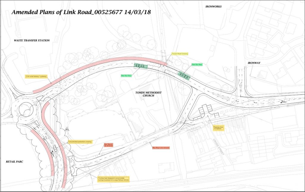 Map of revised realignment of Maesteg Road at Tondu